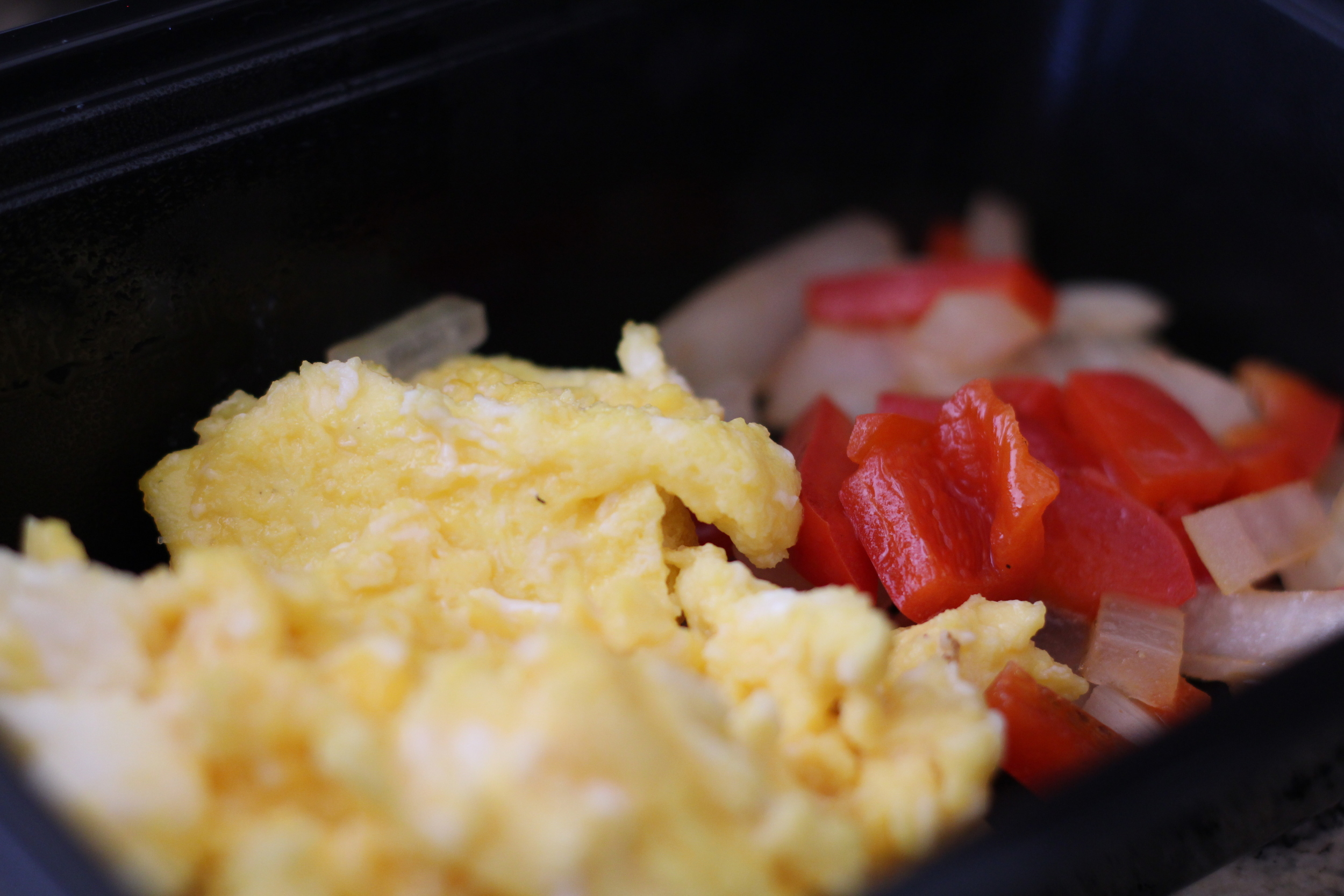 Breakfast: Farm Fresh Eggs, Onions and Red Peppers