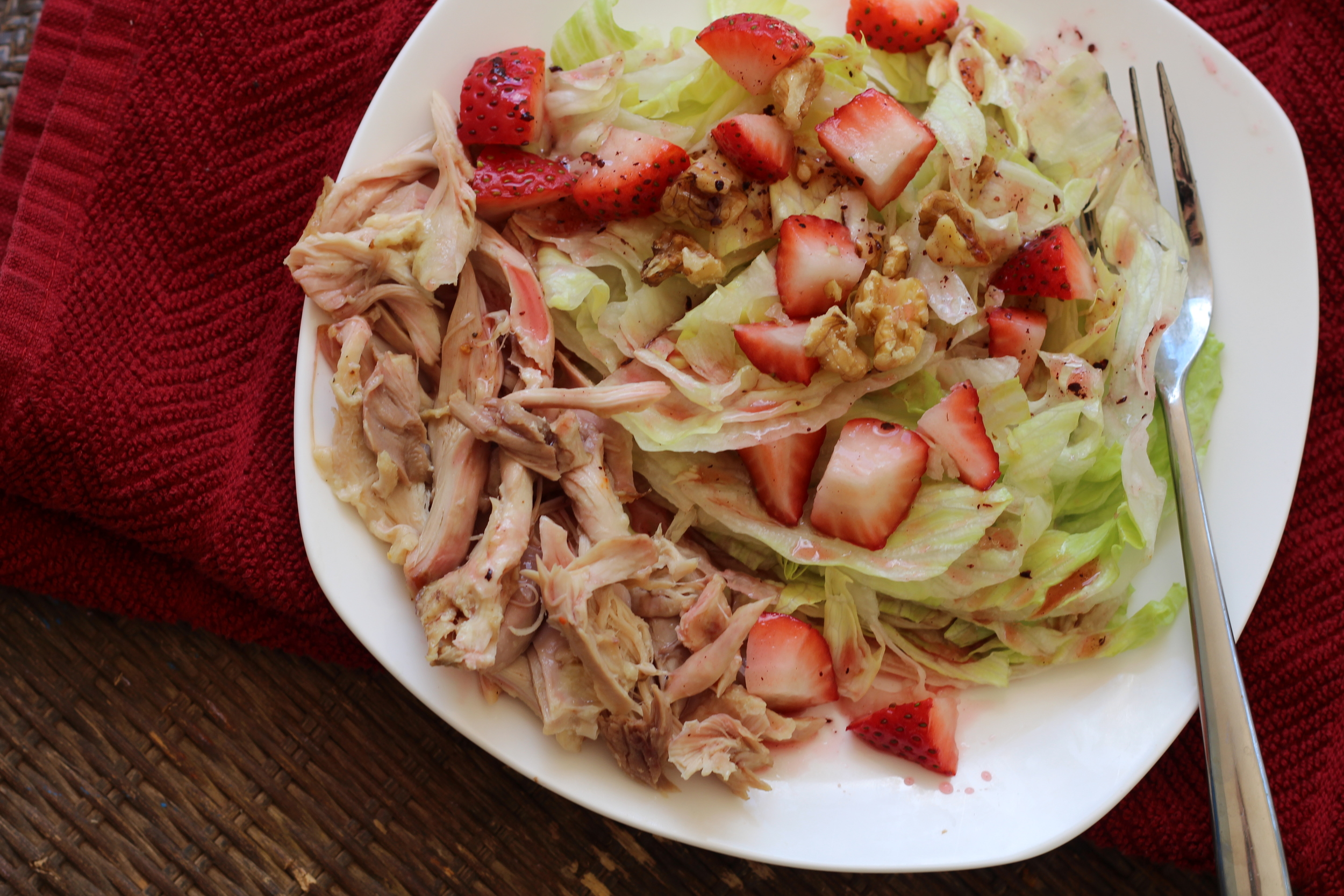 Dinner: (We got strawberries for SUPER cheap! haha!) So this is a Ice berg Lettuce Salad with Strawberries, rotisserie chicken, a little handful of walnuts, and Raspberry Vinaigrette