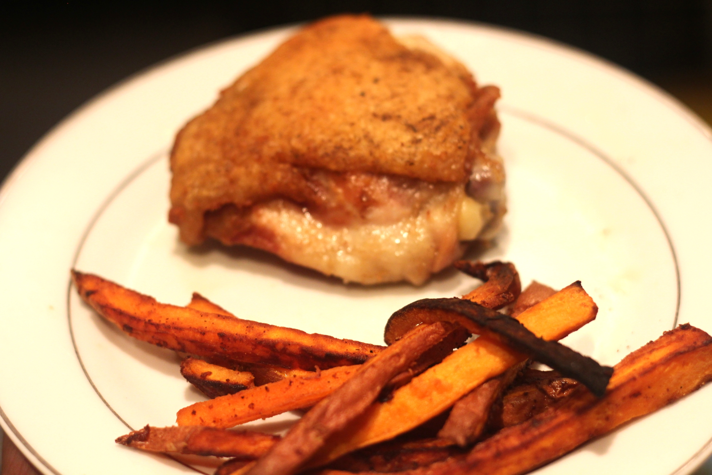 Lunch: Chicken Thigh and Sweet Potato Fries!