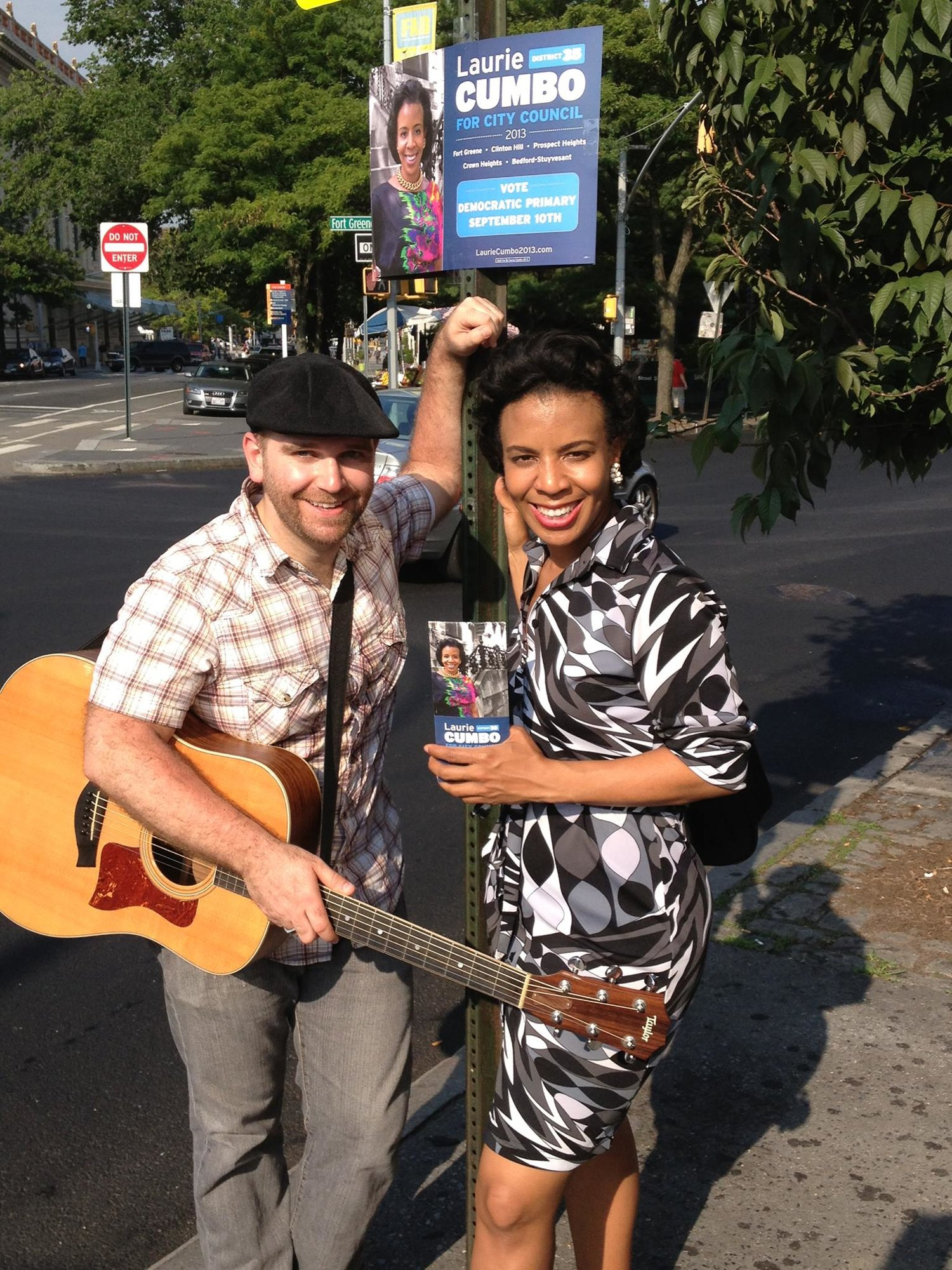 Arts and politics take it to the street. Robby Gonyo, LIT's Director of Election Engagement with Laurie Cumbo, the League's endorsed candidate for City Council District 35.