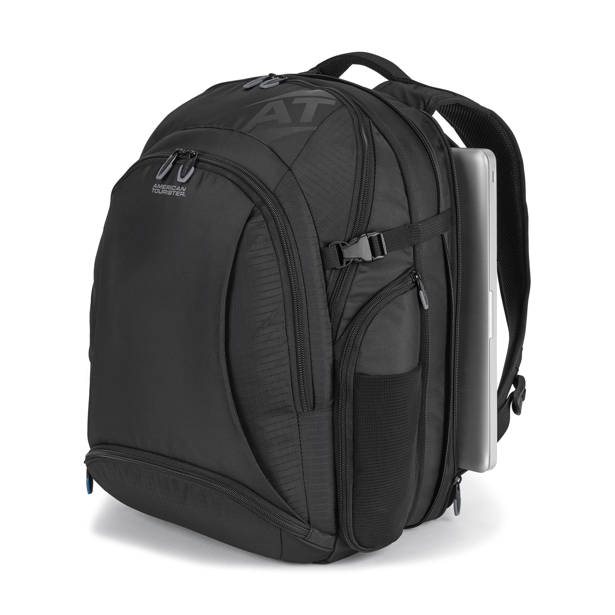 Expandable gusset with tension buckles provides the main compartment with extra capacity.