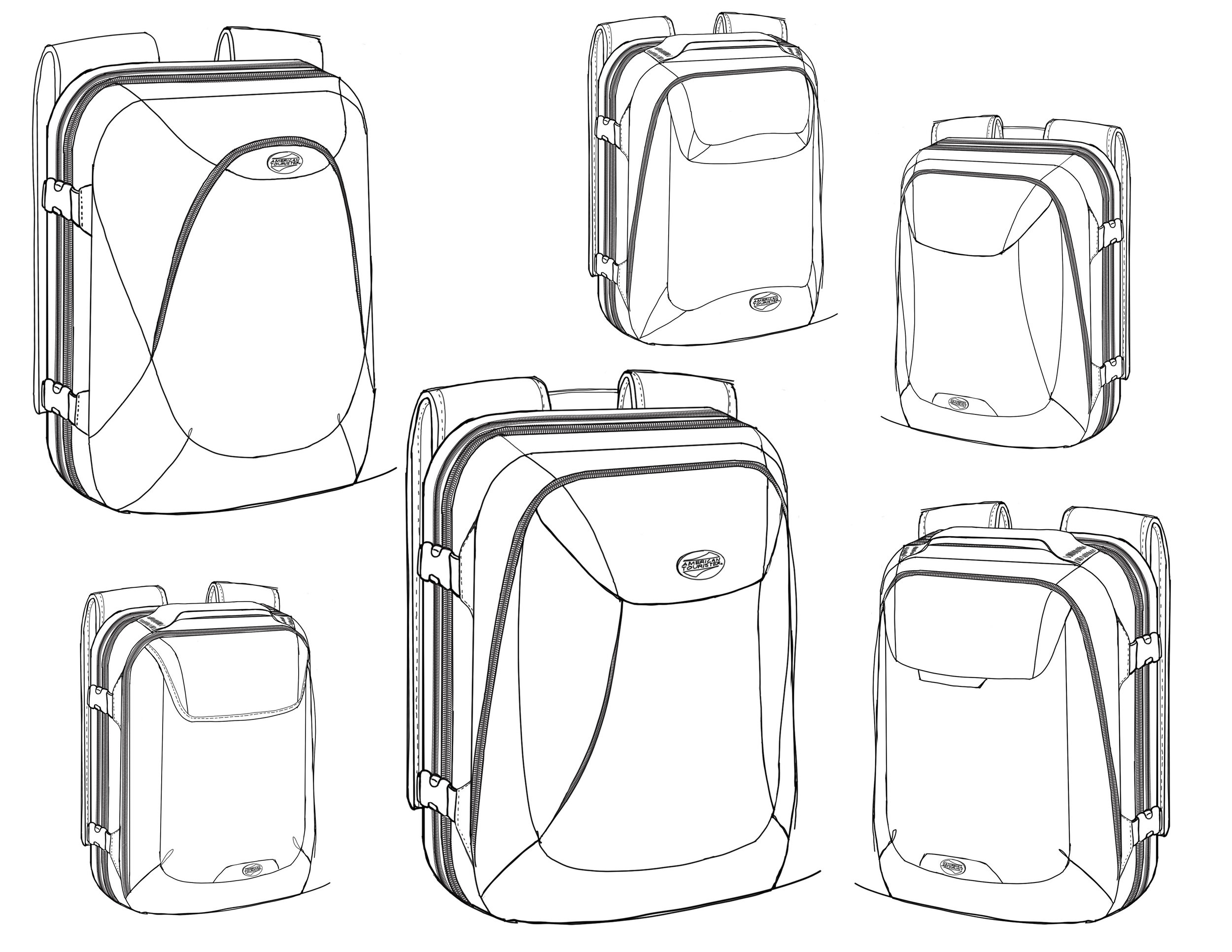 Initial sketches include the expandable gusset feature and hidden front pocket.