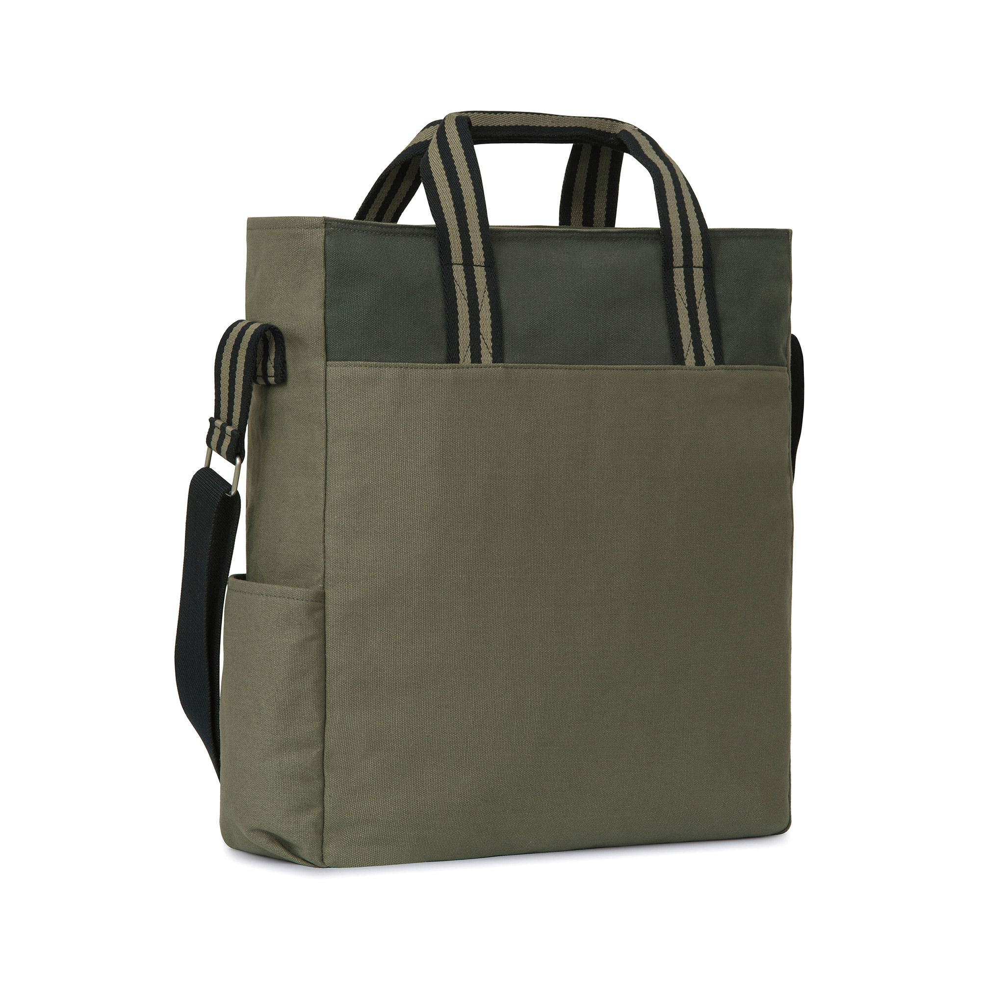 Adjustable shoulder strap, top zipper closure, and a side bottle pocket. (Loden and Deep Forest colorway)