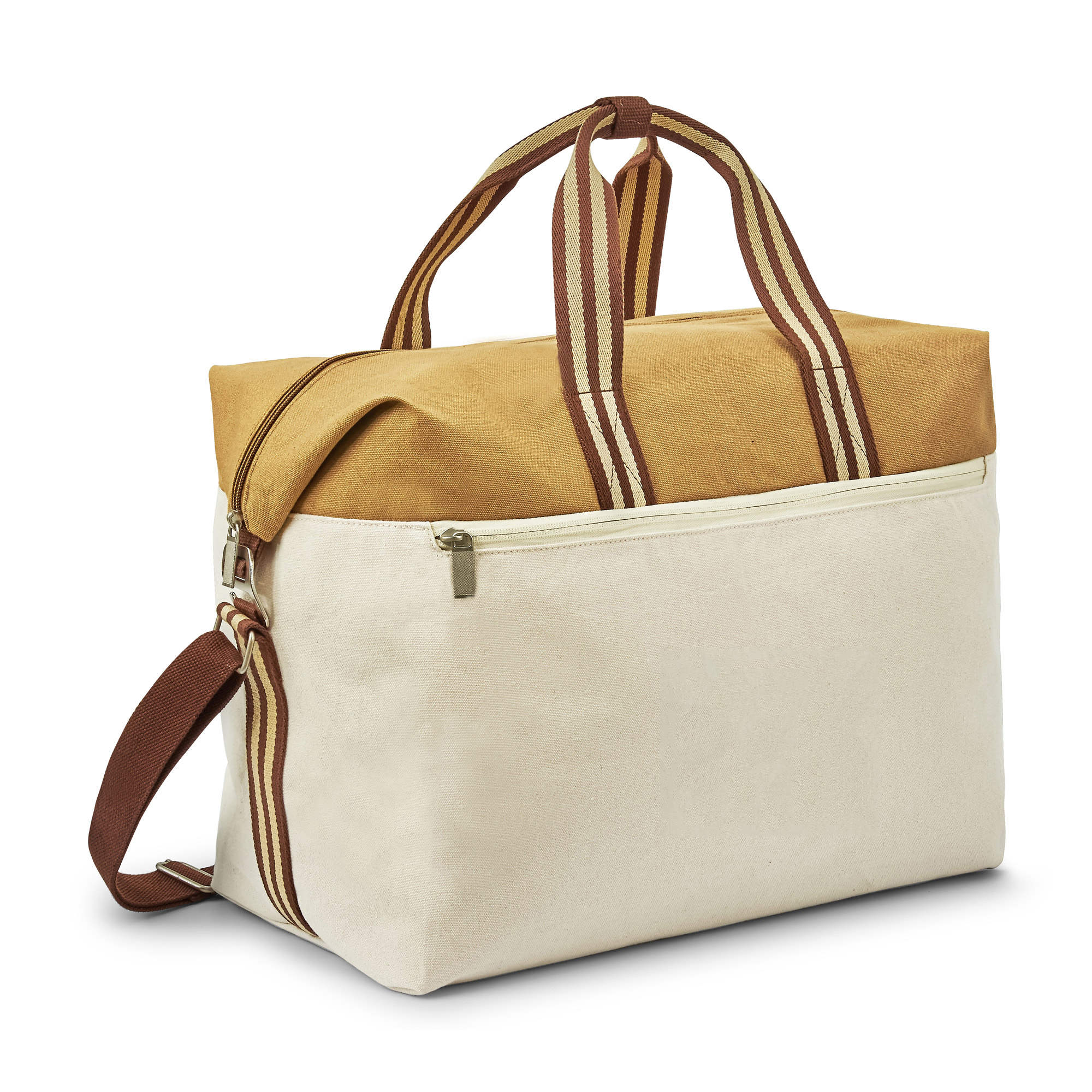 Duffel bag with coated cotton on top panel and 12oz cotton as main body fabric. (Natural and Khaki colorway)