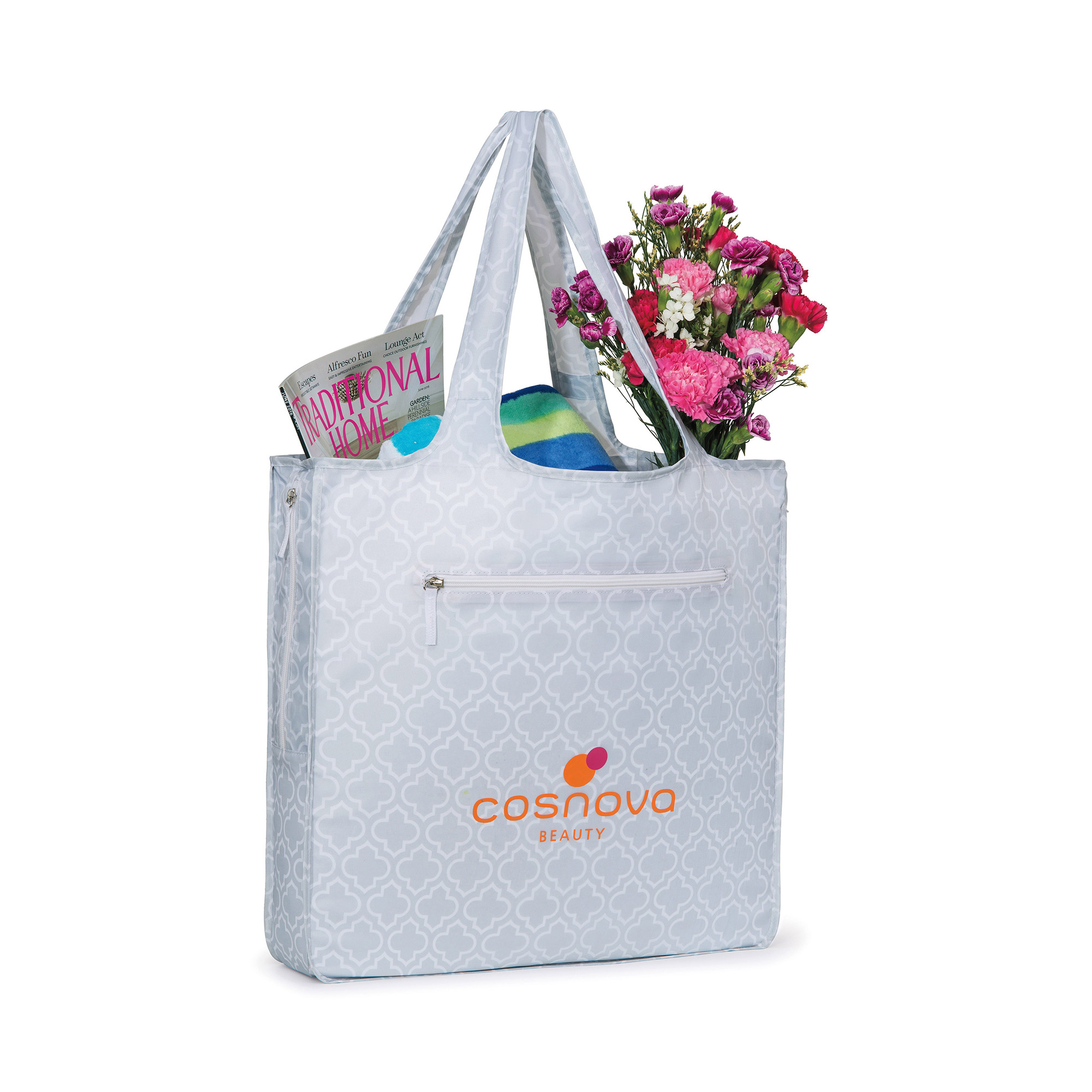Deluxe sized tote with front zipper pocket and interior drop pocket.