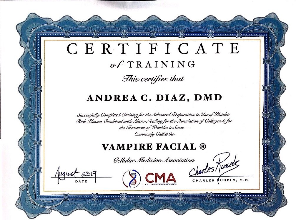 certificate for vampire facial.JPG
