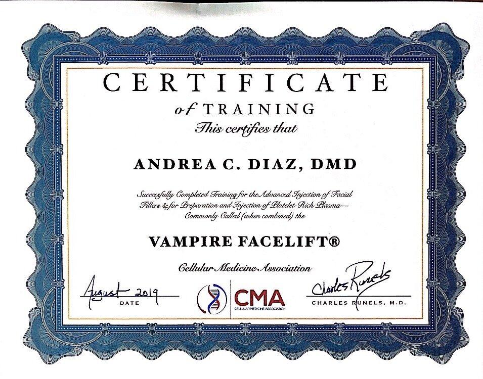 certificate for vampirefacelift.JPG