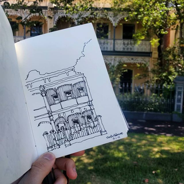 #Sketch of Victorian house in beautiful #albertpark .  Kids playing in the park.  Might go for coffee after this ;) #stvincentgardens #melbourne