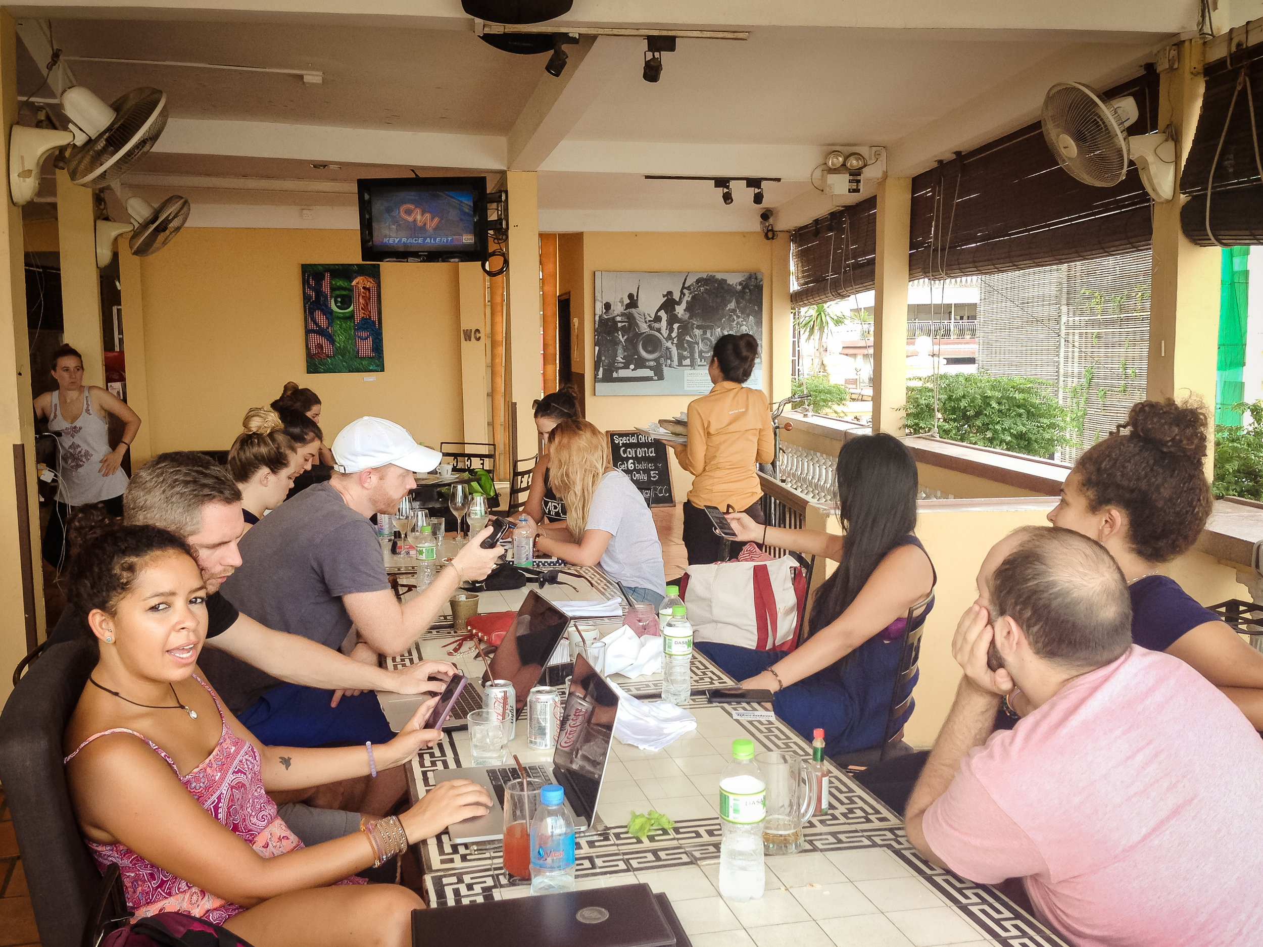 Wednesday November 9, 10:45am: Remotes watching the election results at the Foreign Correspondents Club in Phnom Penh, Cambodia.