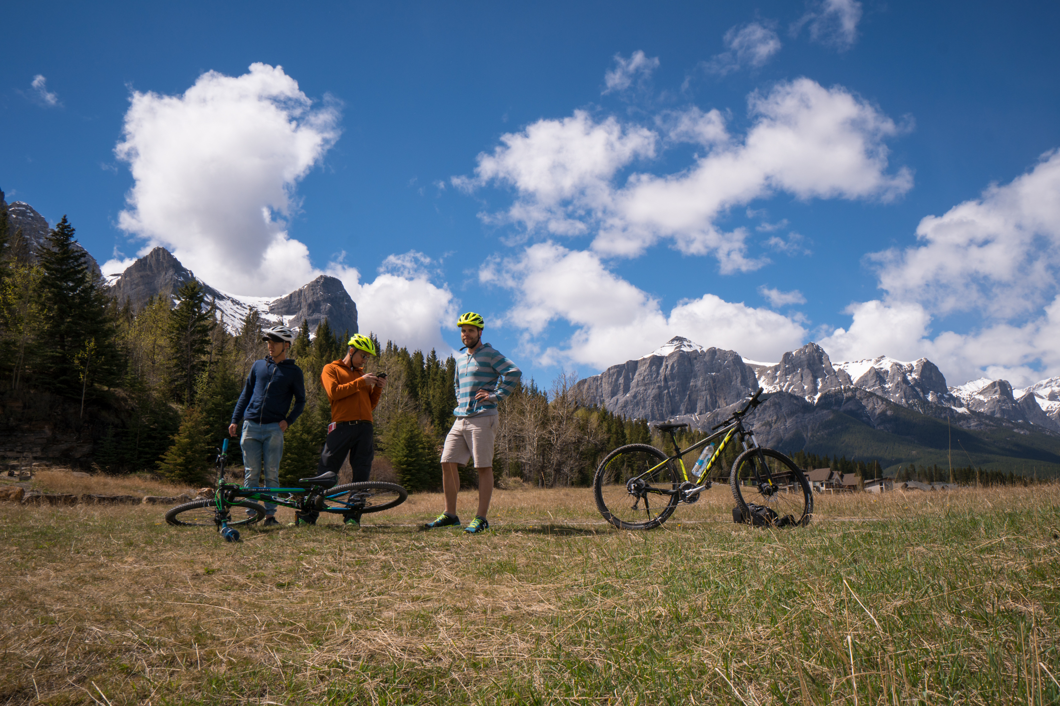 New friends and old friends underneath the mountains of Banff, Alberta.