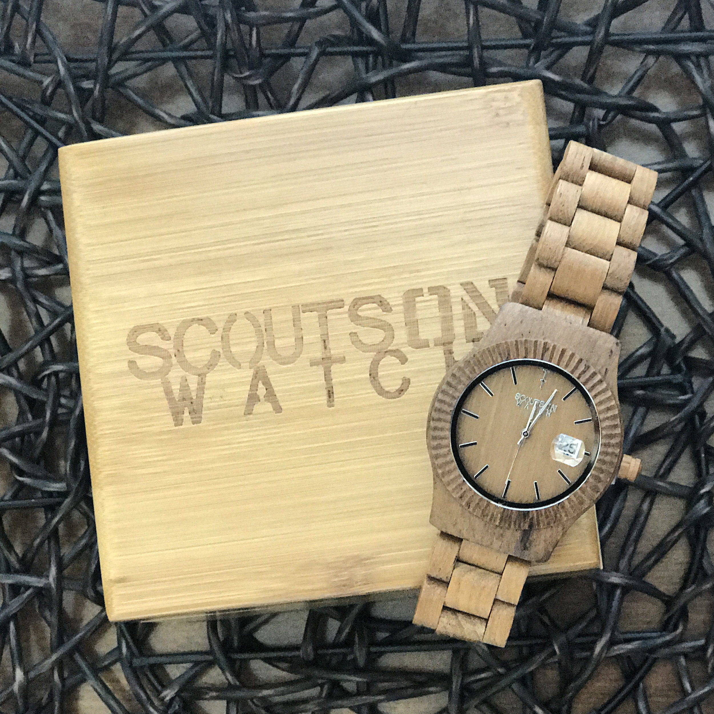 The Veteran - Strength. Honor. Reliability. These are all qualities that you will find in the heart, mind and soul of a soldier.The Veteranis the original ScoutsOn Watch timepiece, a unisex 100% natural teak wood masterpiece inspired by the qualities of a soldier. When you wear The Veteran,you not only show your support of those who serve, you exhibit the subtle style and prestige that a natural wooden watch displays to the world.