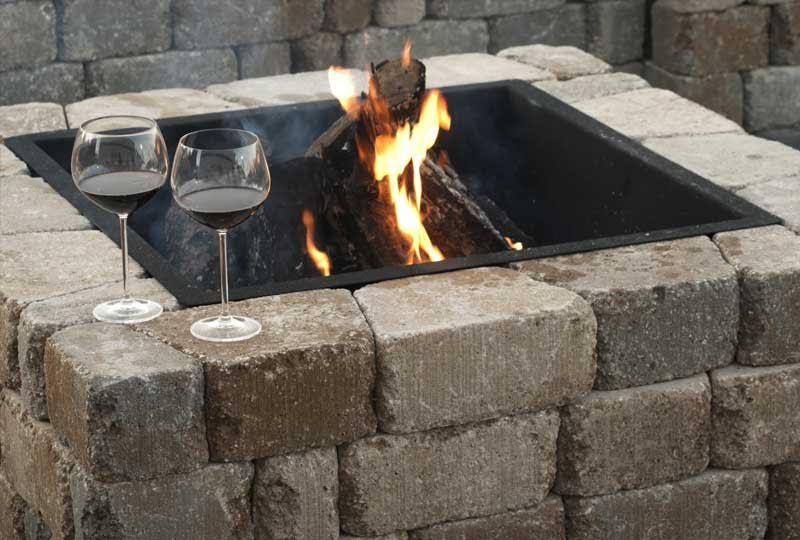 Square Madera Stone Fire Pit Kit
