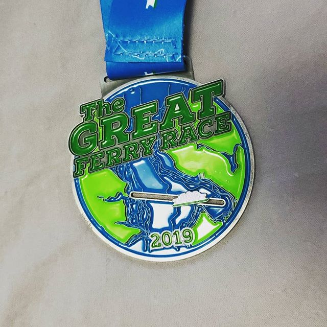 Race one of the season is in the books! Worked for every mile of this hilly race on Saturday and feeling it today. Next up . . . #tacomanarrowshalf ... #medalmonday #orcarunning #thegreatferryrace