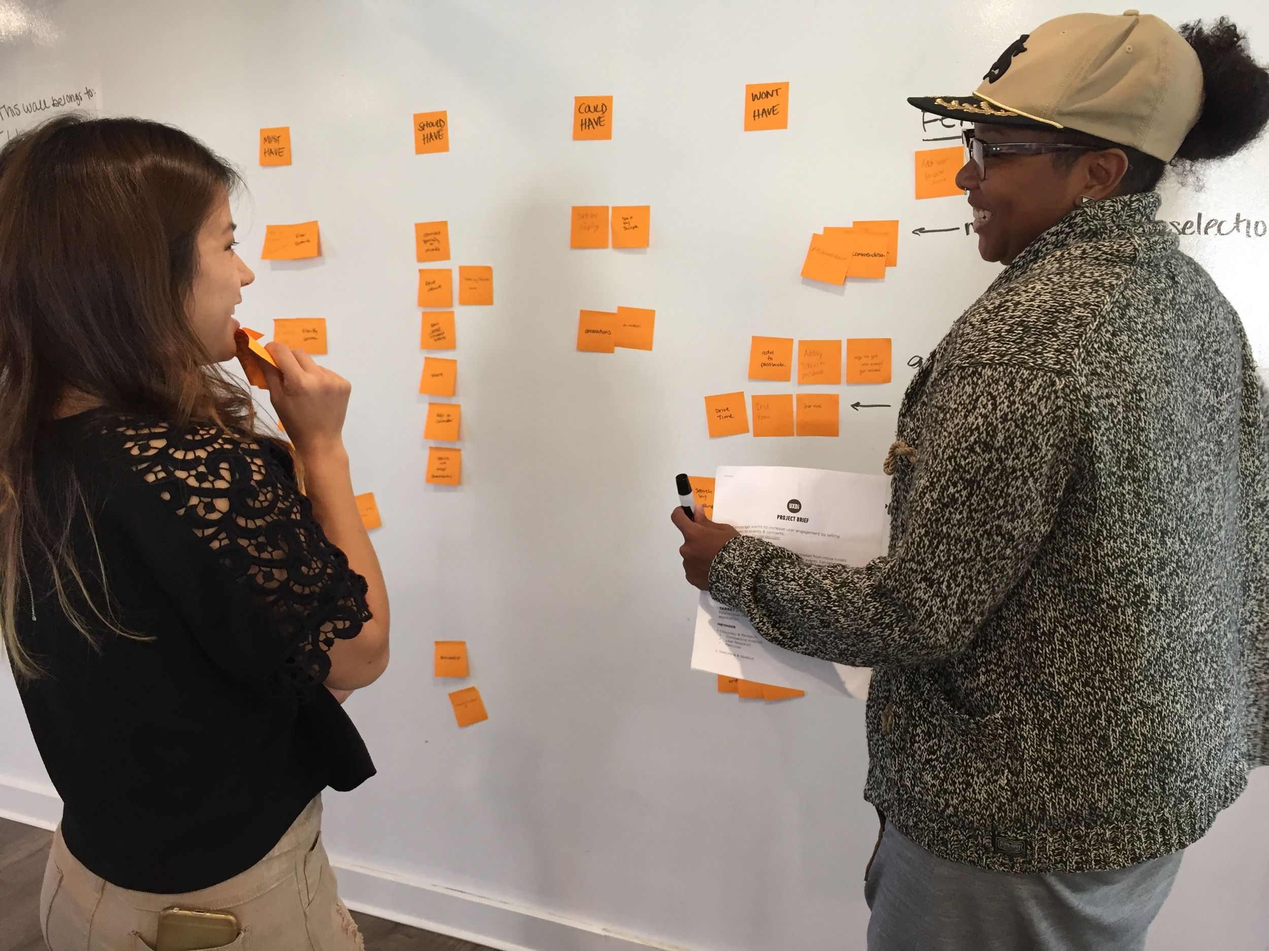 """IMAGE EXPLAINED:       After we analyzed seven other event-related applications, we wrote down all the features, functions, and designs we came across on post-it's. We then categorized them into """"Must-Have"""", """"Should have"""", """"Could Have"""", and """"Won't Have"""", for our application."""