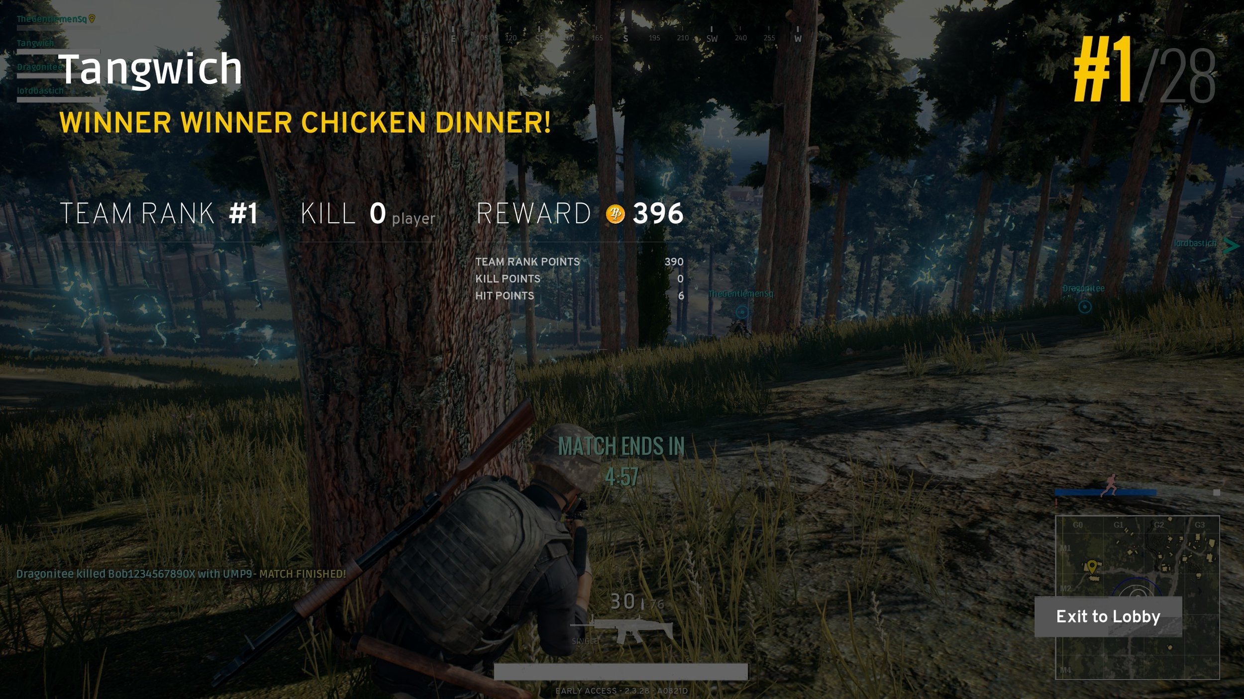 Typical of my chicken dinners. Zero kills, hiding behind something.