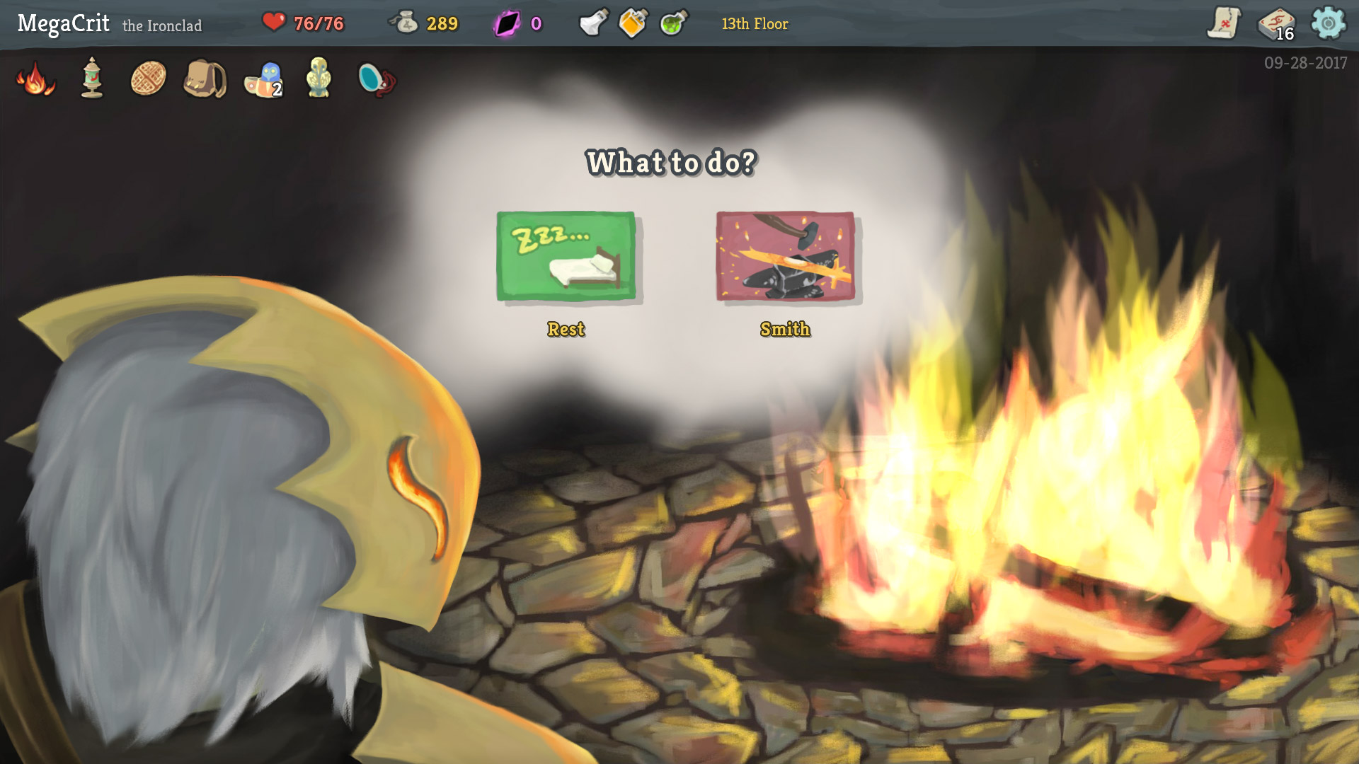 You can choose to rest (heal) or smith (upgrade a card) at campfires. Other options show up based on relics you find.