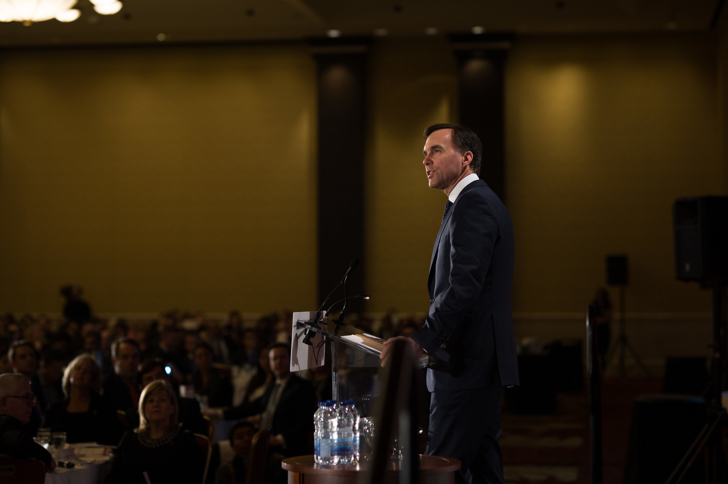 Shot for the Empire Club of Canada. The Honourable Bill Morneau, Minister of Finance.