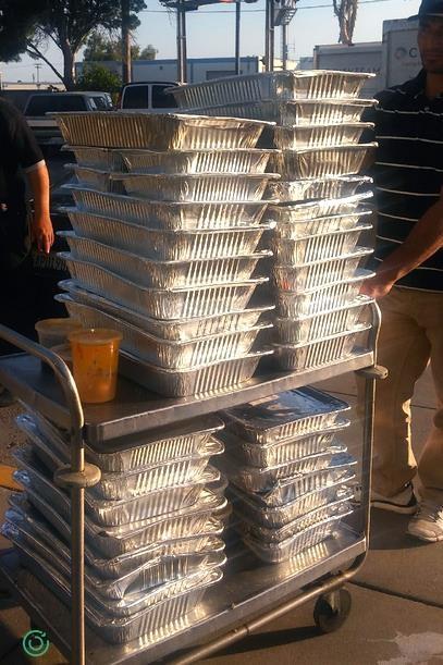 Reverse Catering - Replate pickup of 37 trays of surplus prepared food