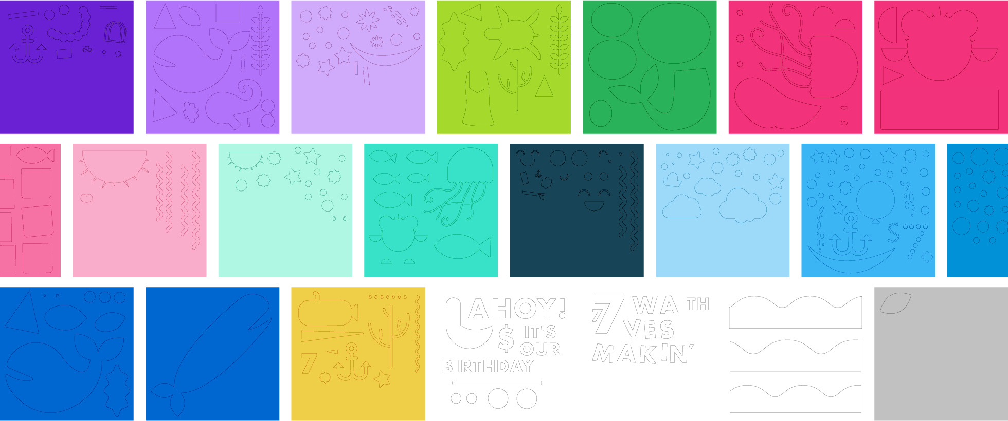 """I took the placements and pulled apart all the digital shapes, determined my largest piece that would fit the 12""""x12"""" scrapbook paper, scaled all pieces proportionally, and organized them by color in order to cut them out in groups. It took about 12 hours to cut all the shapes and I ended up with over 330 individual pieces."""