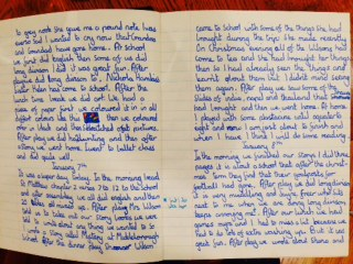 A mention of a lost masterpiece in my diary written when 10:  The Mystery of Mickleborough School, in which horrified school children return after Christmas to find their school goalposts have disappeared! Also proof that even good friends can be annoying if they interrupt me when I'm struggling with long division or any type of math.