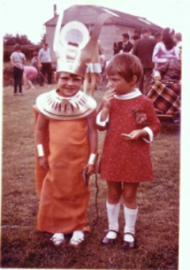 Dressed as Cleopatra for the village fete. I thought I looked wonderful. My dad made the costume with copious quantities of spray paint.