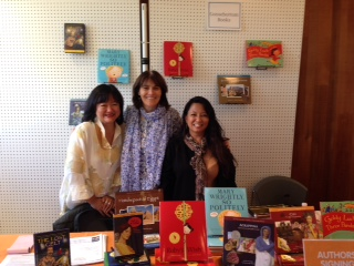 Selling Goosebottom Books and taking pre-orders for  The Lost Celt  with publisher Shirin Yim Bridges and author Natasha Yim Carter.