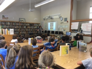 Talking to 4th and 5th graders in Old Mill School library, Mill Valley