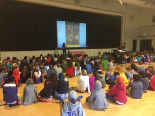 One of two assemblies to 3rd, 4th and 5th graders at Bel Aire School, Tiburon.