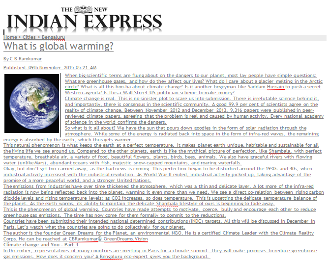 Climate change series in Indian Express