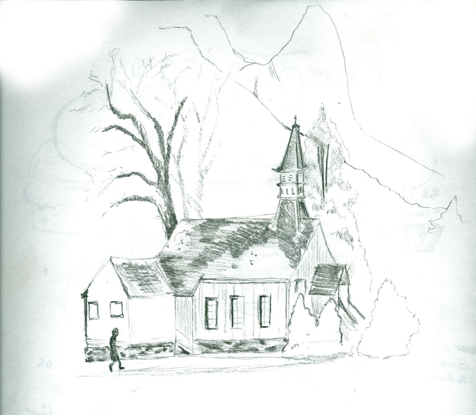 drawing a photograph taken by my grandmother, a Church in Yosemite valley
