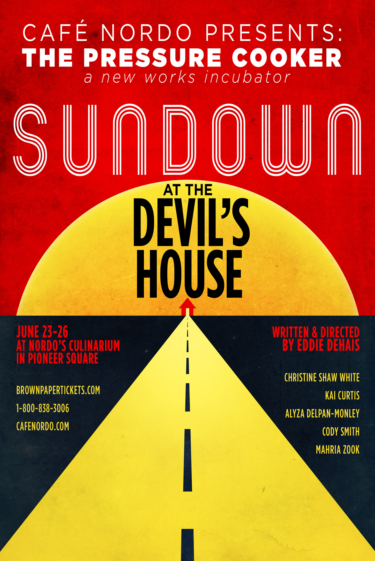 Sundown at the Devil's House (2016) | It's the Devil's last night on Earth, and she and her cohorts will titillate, beguile, and entertain the audience with stories of the Devil's greatest triumphs and darkest secrets. Sundown is a capricious and fantastical pieces of anarchic theatre, live music, and strange goings-on that sinuously interlaces into a story about the Devil's love for music and mankind. Written and Directed by Eddie DeHais.