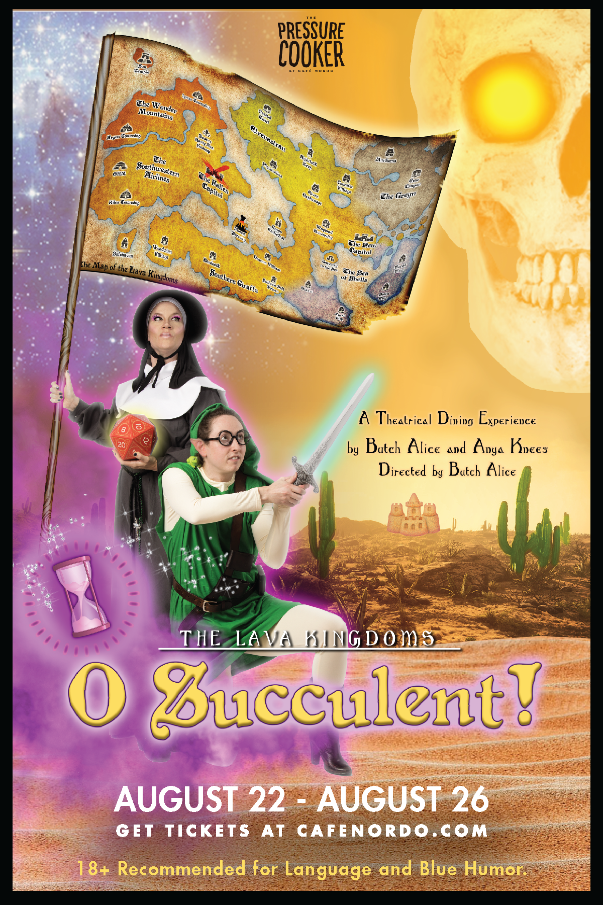 O Succulent! (2019) | In a live-acting homage to role-playing games, Professor Archie McDinklethorn and Sister Sandwich travel from the relatively safe confines of the Waylan School of Botany and Herbalism into the quicksands of the The Southern Giraffa Desert, in search of succulent plants and accompanying adventure. Written by Butch Alice + Anya Knees and Directed by Butch Alice.