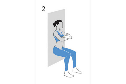 Wall Sit.  Literally lean up against a wall, slide down the wall until your thighs are parallel to the ground. This might take a bit of practise to get to this desired range. Ensure weight is distributed evenly from heel to toe. this can be achieved by ensuring you are bent at 90 degrees at the knee.
