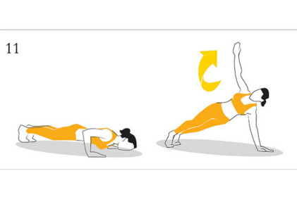 Rotational push-up.  Start this on your knees until you are ready to progress, and take your time getting the feel for this. You will probably find yourself off balance the first few times you try this. In the same position as your push up, drive upward and then open your  body to the sky. Bring your arm back down, complete another push-up and switch sides. Again don't aim for full rotation. Do what is comfortable and progress from there.