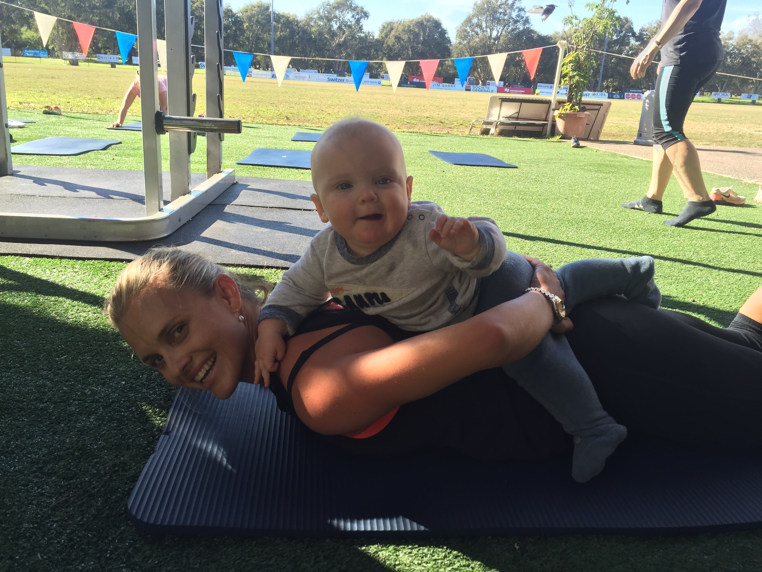 KP working on some push ups with little Freddy coming along for a ride.