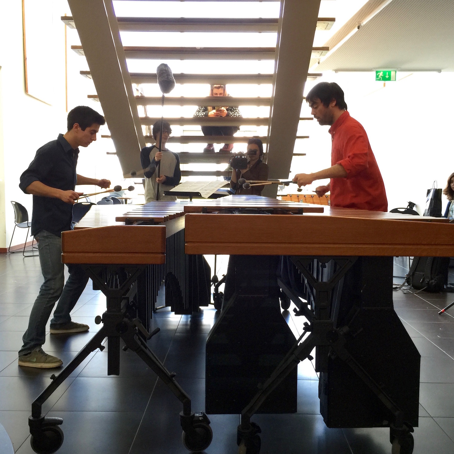 Impromptu percussion recital at ESART — bravo, José Silva and Francisco Viera!