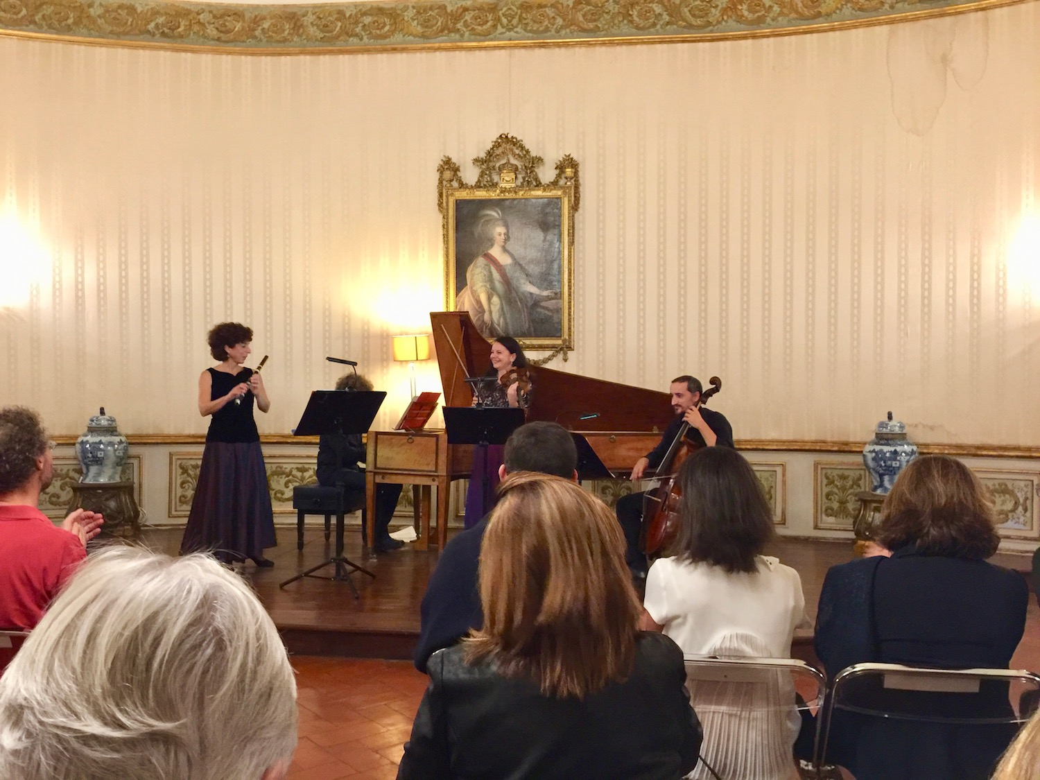 Laura Pontecorvo, flute, Guido Morini, cembalo, Iskrena Yordanova, violin, and Marco Ceccato, cello— Helianthus Ensemble