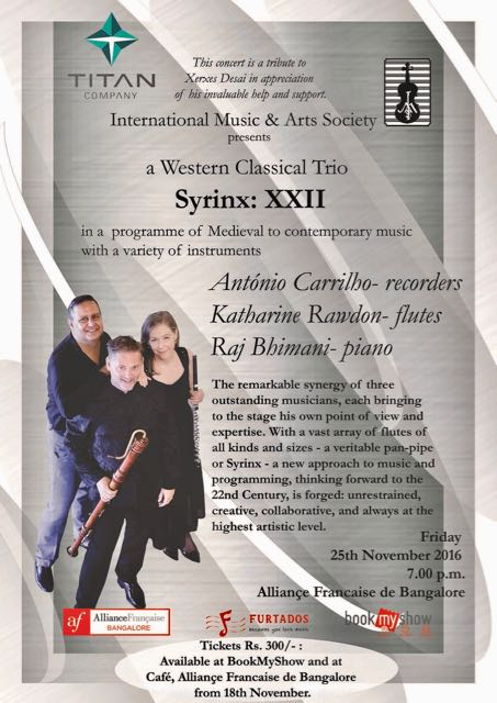 Poster for our performance at the Alliance Française in Bangalore