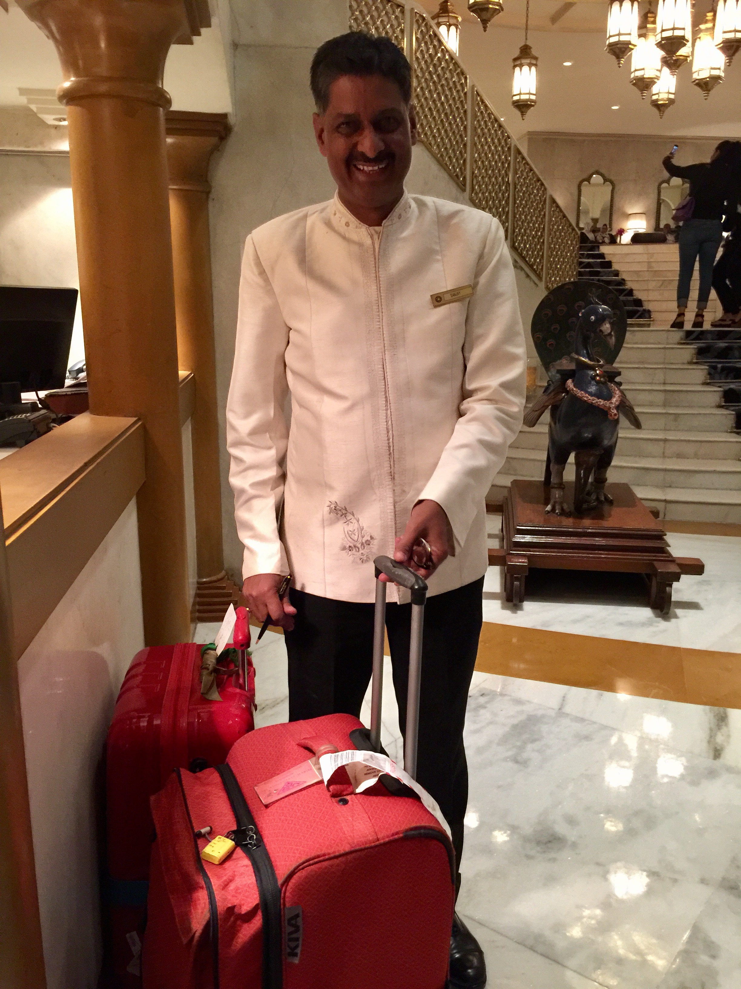 Best news of the day: Hotel Concierge with our delayed luggage! Whew!