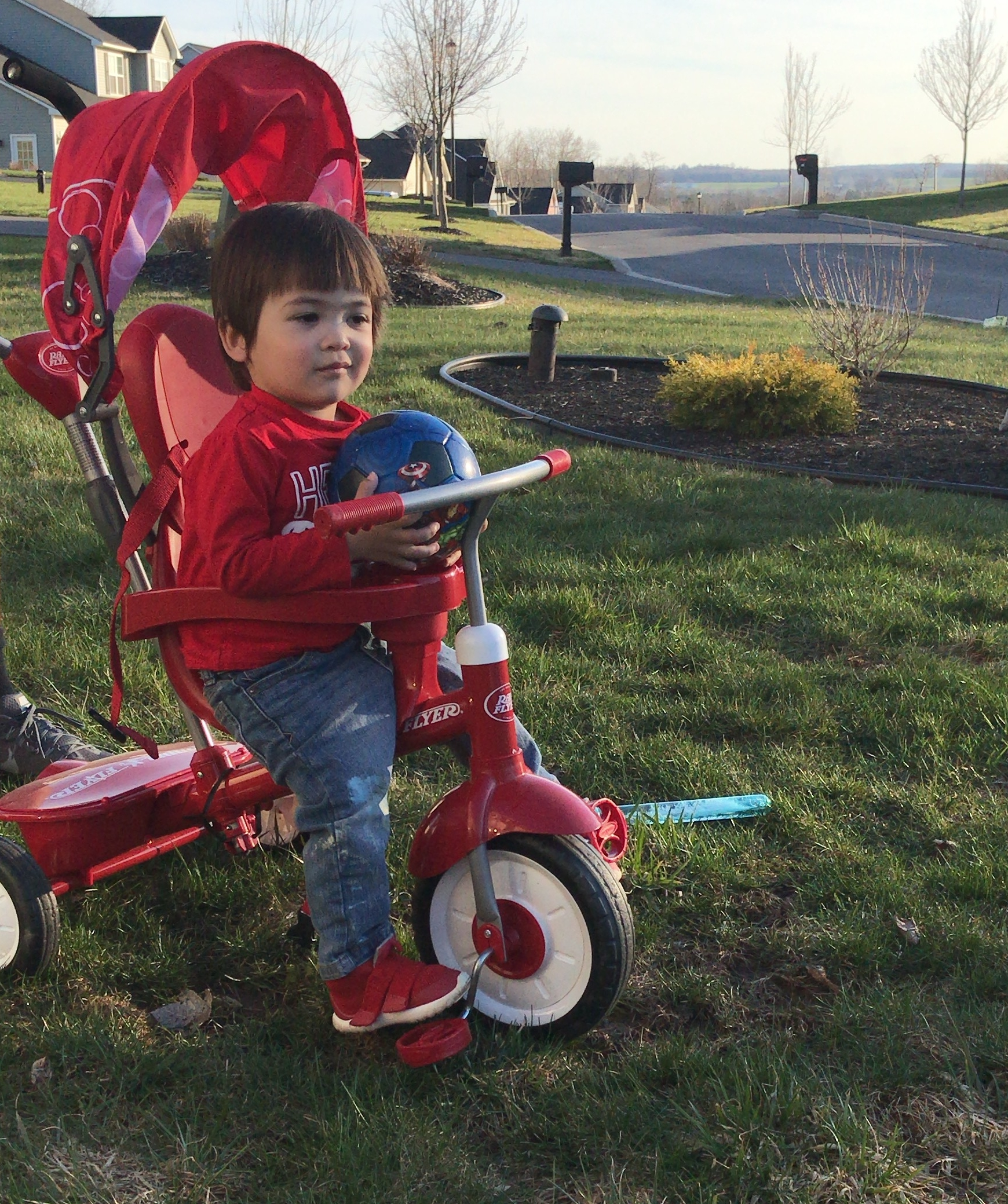 Pictured: Not kid who suffered trauma written about in article.  Just our 1 year old son in his tricycle.