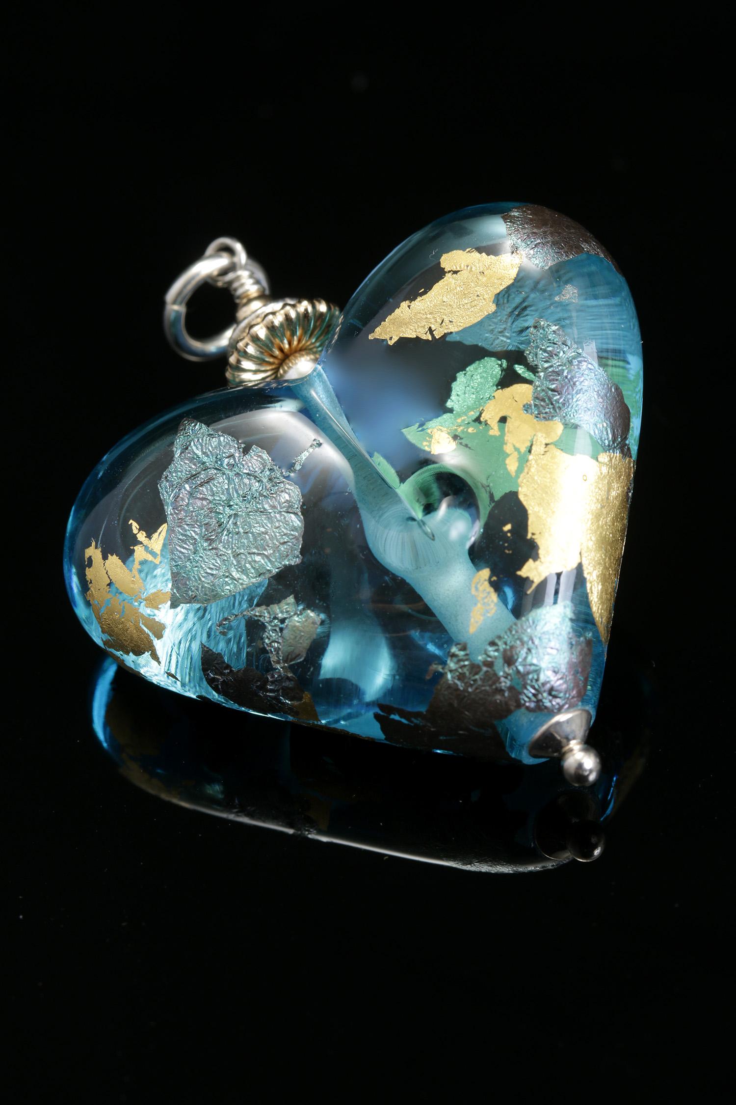 Aqua Heart Pendant w/gold and palladium leaf