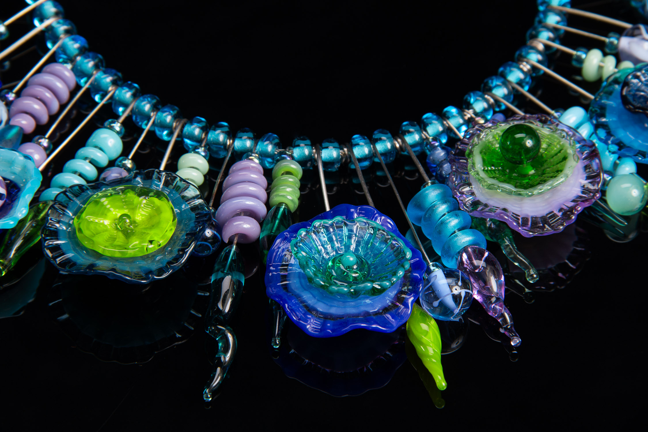 Blue/Green Whimsy Anemone Tribal Necklace