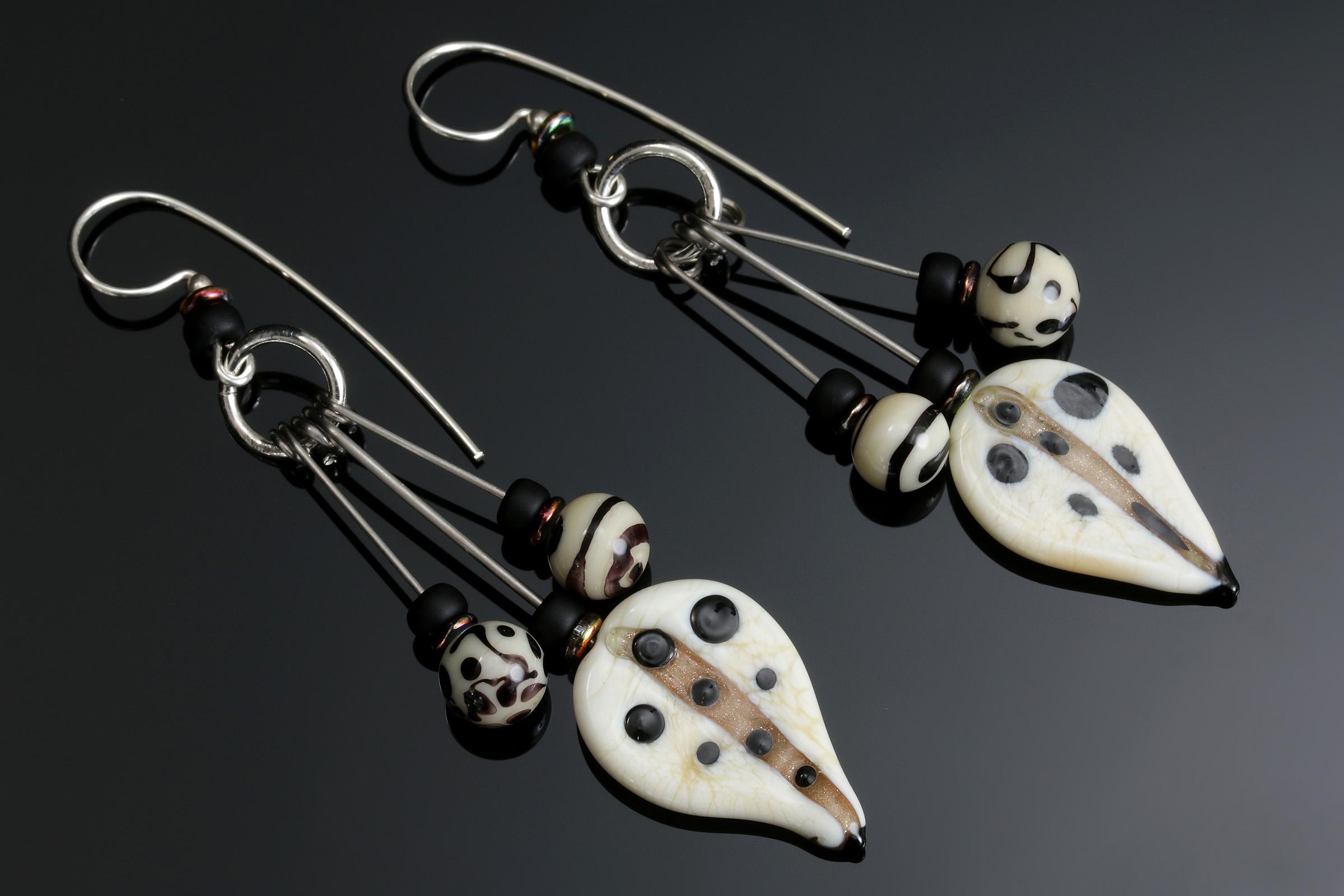 Ivory/Black Shield Tribal Earrings
