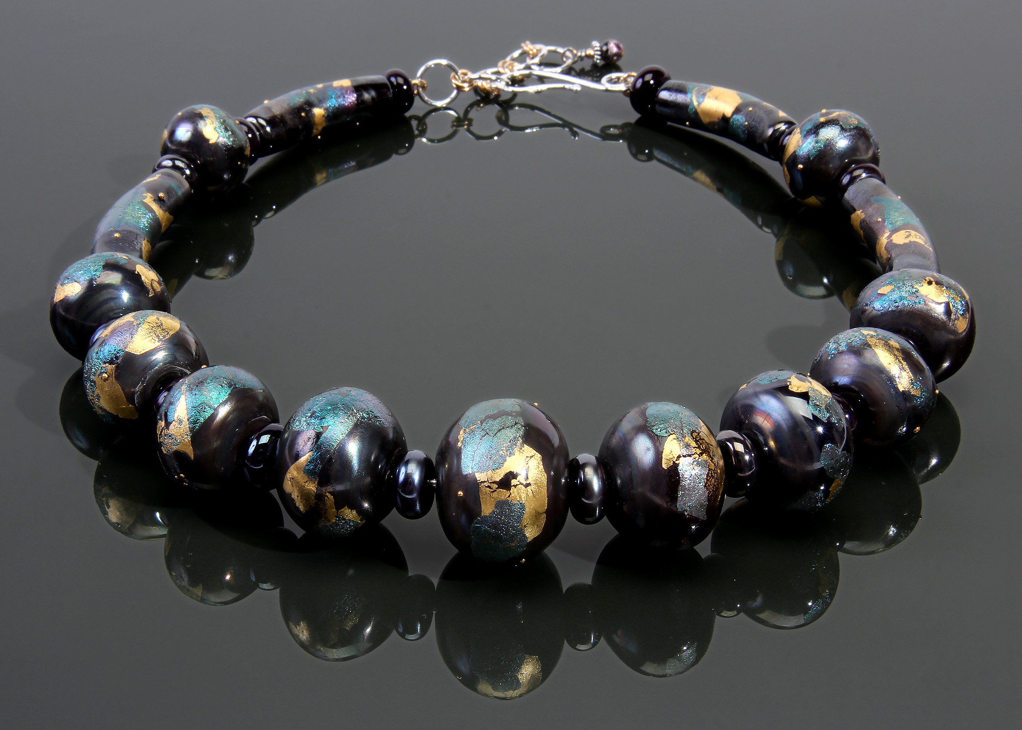 Palladium and Gold Leafed Black Hollow Bead Necklace