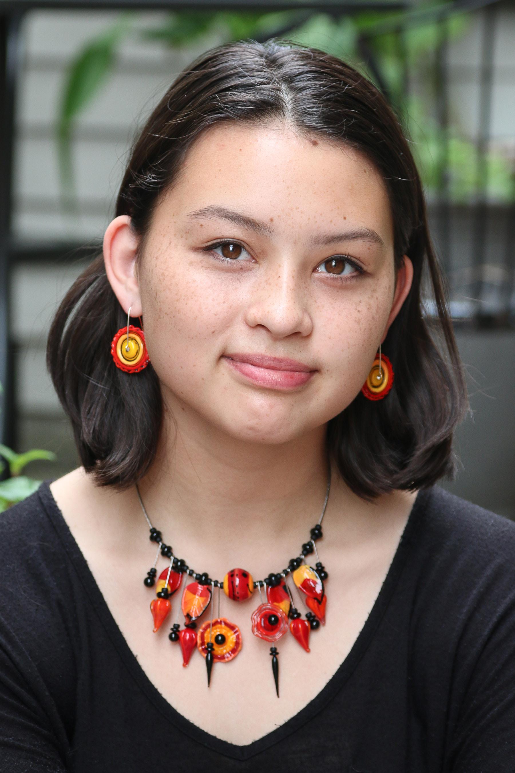 Summer Fiesta Necklace, Red/orange/yellow Trapeze Earrings