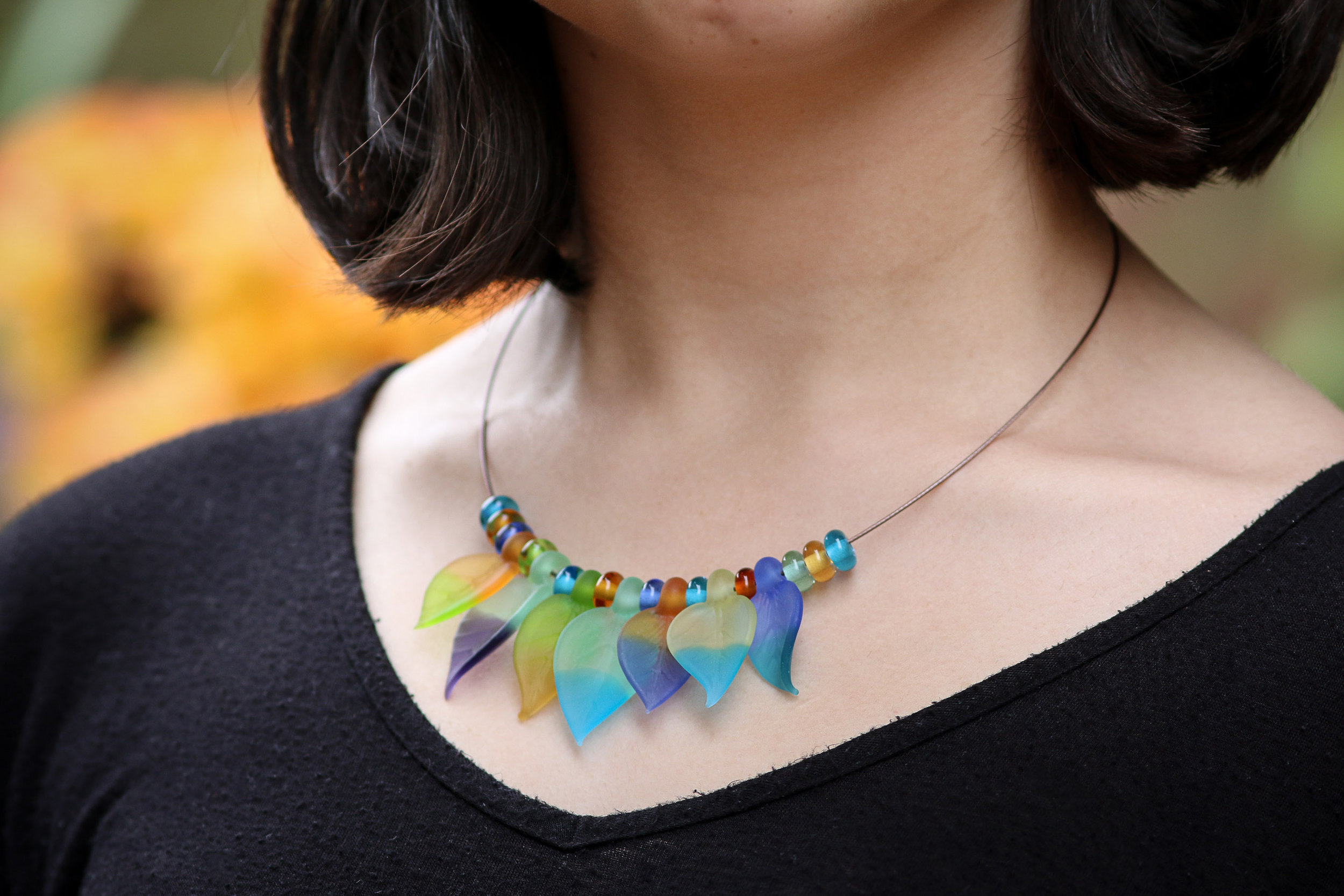 Simple Frosted Leaves Necklace