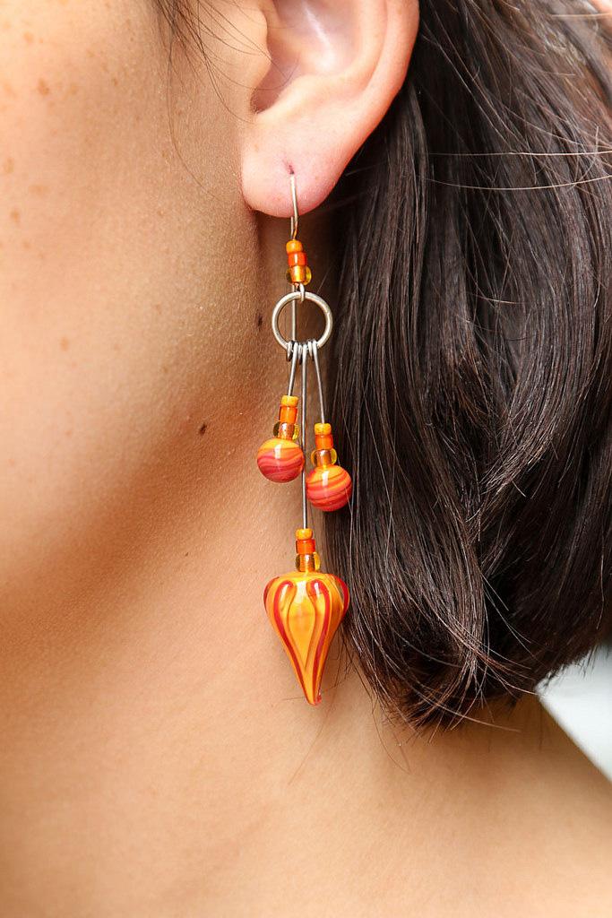 Orange/red Tribal Earrings