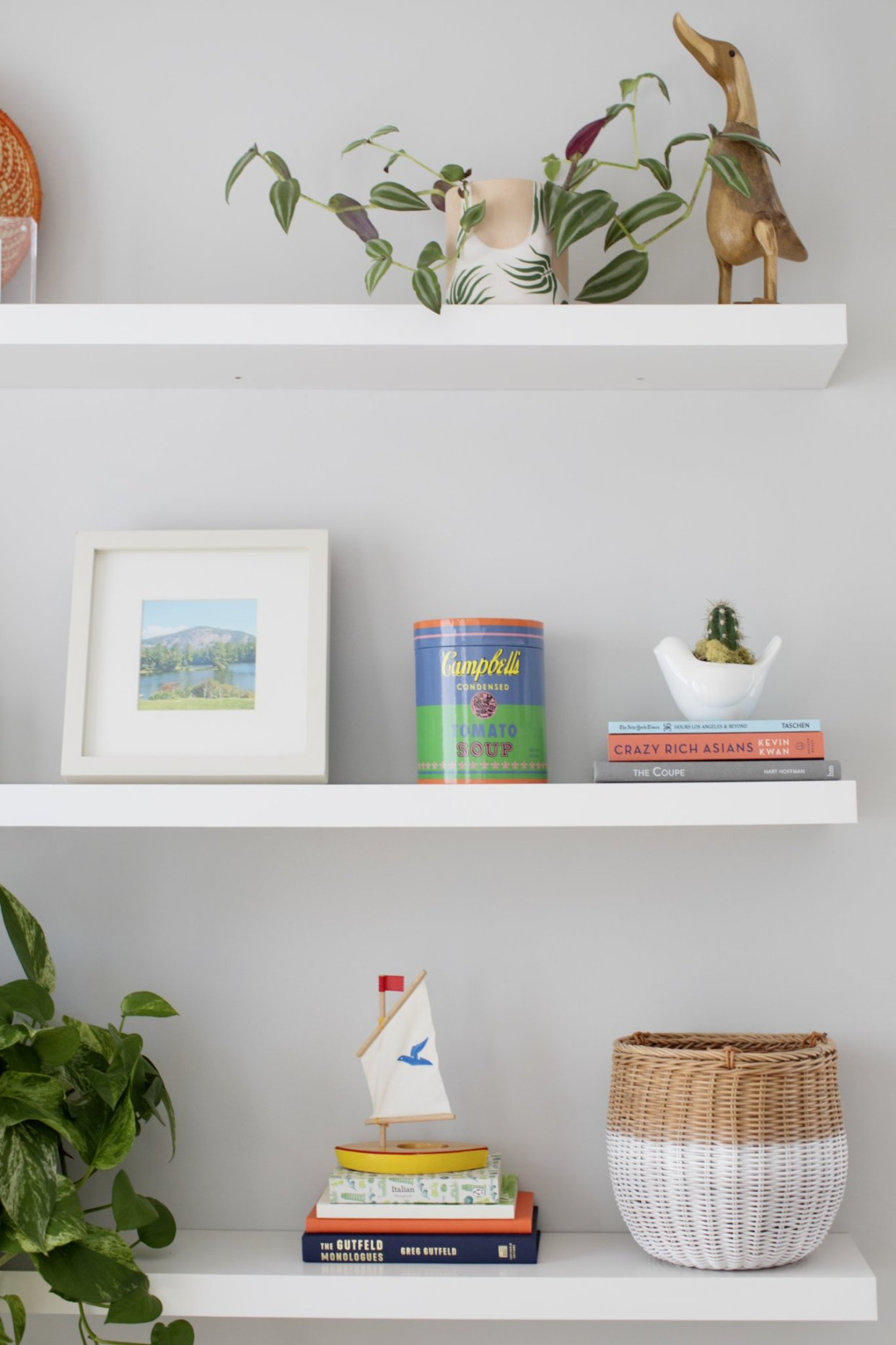 shelf styling with plants