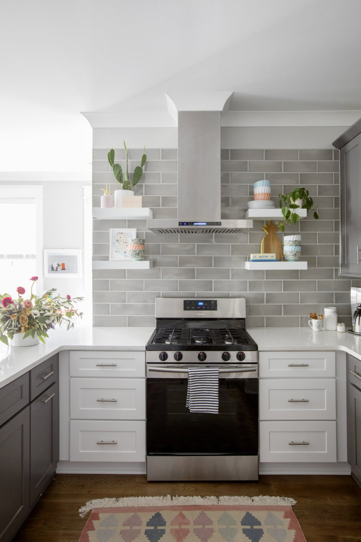 grey backsplash, grey and white kitchen