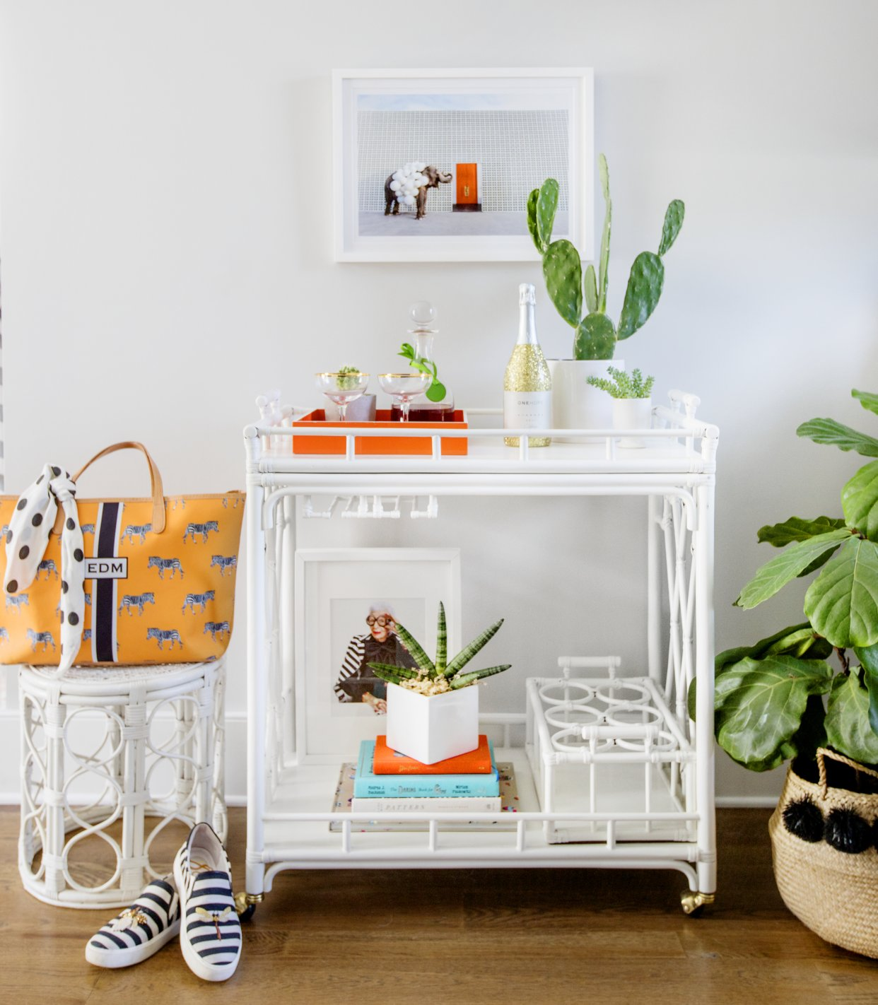 Colorful Bar cart styling
